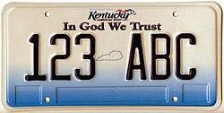 Kentucky License Plate