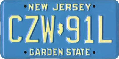 New Jersey License Plate